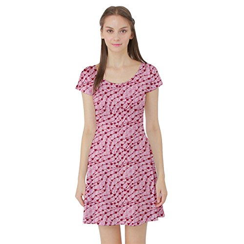 d7aa6d5cad Pink Cute Pink Valentine Day Pattern Cute Hearts Short Sleeve Skater Dress