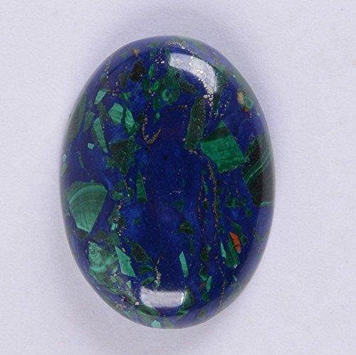 30x22mm Oval Cabochon CAB Flatback Semi-Precious Gemstone Ring Face (Lapis Lazuli & Malachite)