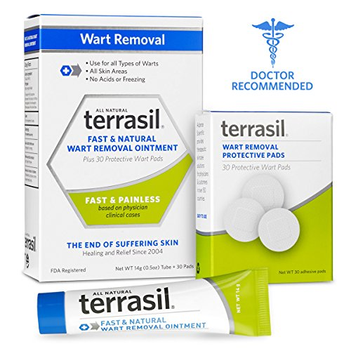 Terrasil® Wart Removal - Safe for Sensitive Skin, Dr. Recommended, 100% Guaranteed, All-natural, Pain-free, Acid-free, Patented Treatment for common warts, facial warts, genital warts, anal warts, and flat warts, 14g tube + 30 Protective Pads (Combo) (Warts Genital Wart Remover)