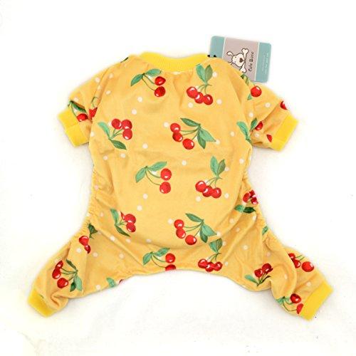 Cutebone Dog Pajamas Cherry Dog Apparel Dog Jumpsuit Pet Clothes Onesie Pajamas P07(S)