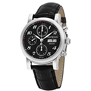 Montblanc Men's 'Star' Swiss Automatic Stainless Steel and Leather Dress Watch, Color:Black (Model: 106467)