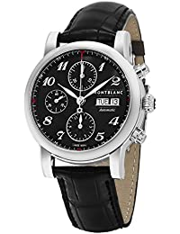 Mens Star Stainless Steel Swiss-Automatic Watch with Leather Strap, Black, 20 (. MONTBLANC
