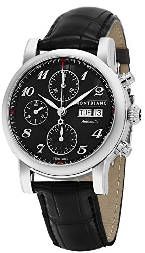 Montblanc Men s Star Stainless Steel Swiss-Automatic Watch with Leather Strap, Black, 20 Model 106467