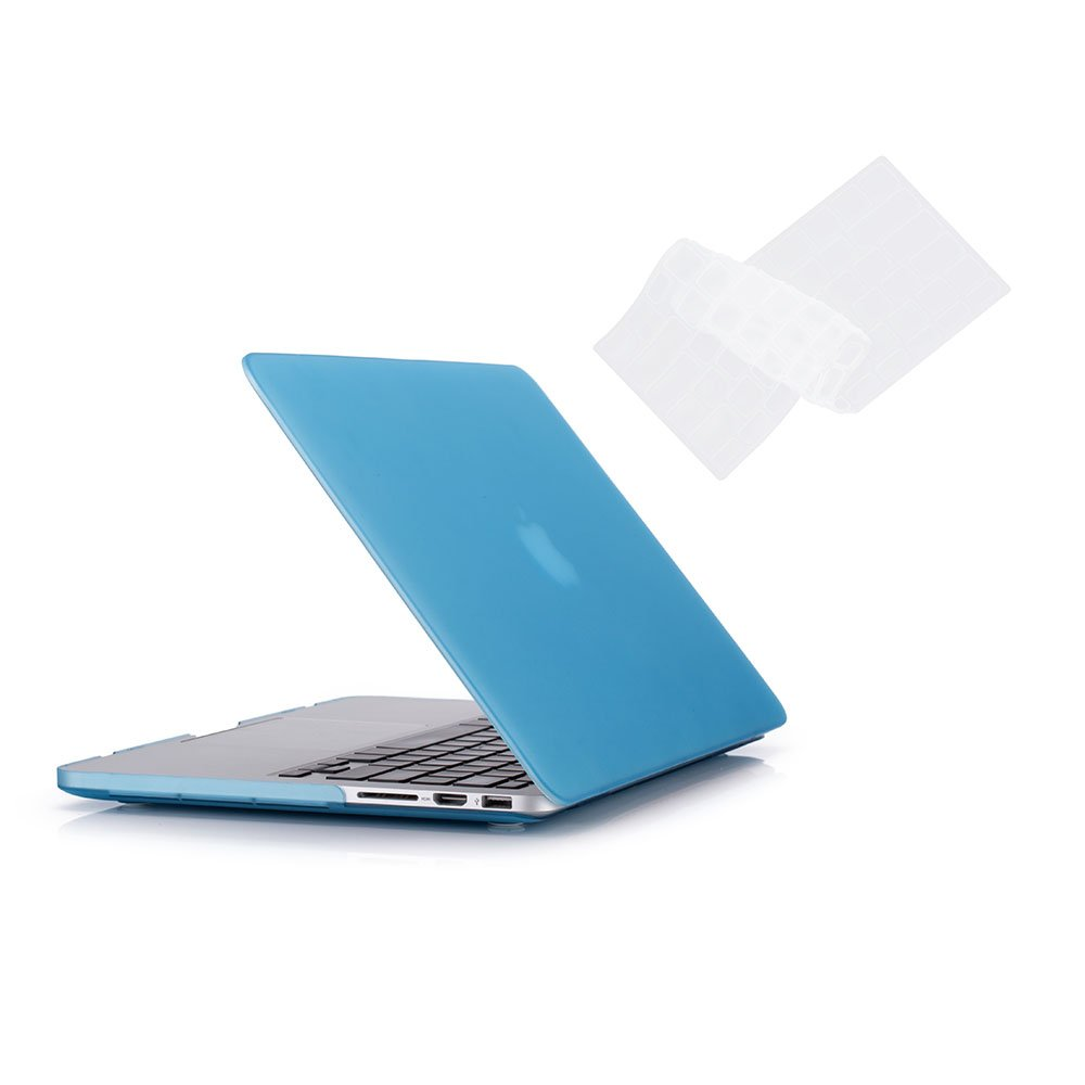 RUBAN Case Macbook Old Retina 15'' No CD-ROM (2012-2015 ) Release (A1398), Plastic Hard Case Shell with Keyboard Cover for Old Macbook Pro 15-inch 15.4'' with Retina Display, Grey Blue.
