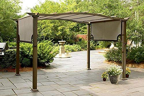 Cheap The Outdoor Patio Store Replacement Canopy for Sears Garden Oasis Pergola S-PG11D1 Light Polyester Fabric with Brown Trim and Grommet Holes