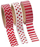 Red Washi Tape Set - 16 Ft. Of Tape Per Roll (3 Rolls Per Unit)