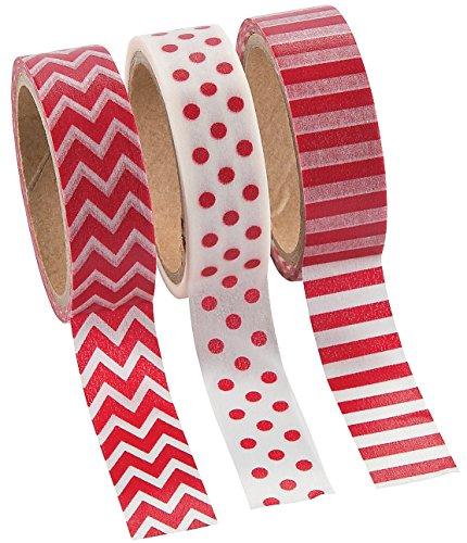 Red Washi Tape Set Rolls