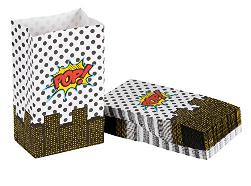 Party Treat Bags - 36-Pack Gift Bags, Super-Hero Party Supplies, Paper Favor Bags, Recyclable Goodie Bags for Kids, Comic Themed Design, 5.2 x 8.7 x 3.3 Inches
