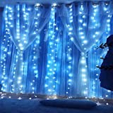 Designs of Kitchen Window Curtains Twinkle Star 300 LED Window Curtain String Light Christmas,Wedding Party Home Garden Bedroom outdoor indoor wall Decorations (Blue)