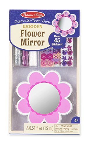 Melissa & Doug Decorate-Your-Own Wooden Pocket-Sized Flower Mirror Craft Kit ()