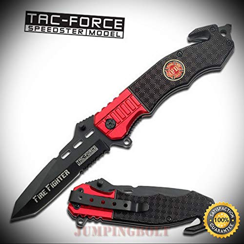 Spring Assisted Open Rescue FIRE FIGHTER Glass Breaker Pocket Sharp Knife - Premium Quality Hunting Very Sharp EMT EDC