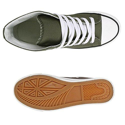 Damen Sneaker High Glitzer Sneakers Camouflage Stoffschuhe Sportschuhe Schnürer Übergrößen Flats Turnschuhe Flandell Dunkelgrün Weiss
