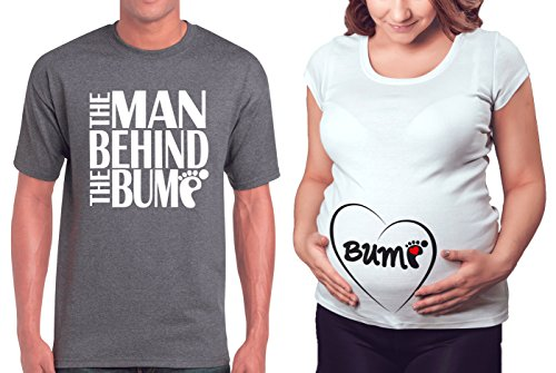Matching Maternity Couple Shirts - The Man Behind The Bump & Belly Bump T Shirt - Cute Pregnancy Couples Clothes - His and Hers Funny Pregnant Tees & Outfits Novelty Fabric Maternity Skirt
