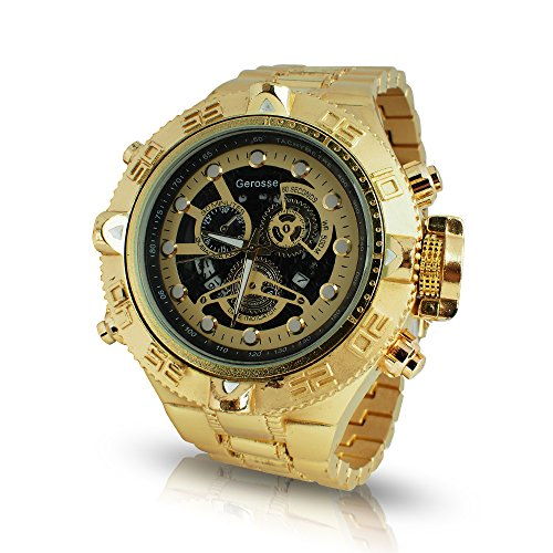Black Diamond Dial Watch (Gerosse Alloy Gold Watches for Men, Masonic Classic Men's Luxury Watch Crystal Diamond Dial Quartz Wrist Watch, Big Face Hip Hop Watch (Black Dial))
