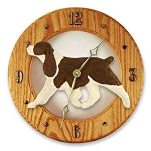 Michael Park Liver English Springer Spaniel Wall Clock in Light Oak 11