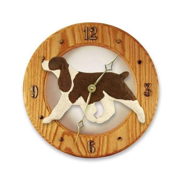 Michael Park Liver English Springer Spaniel Wall Clock in Light Oak 1