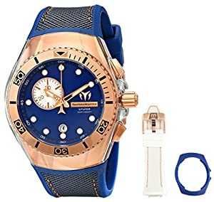 Technomarine Cruise One Swiss Unisex Quartz Watch with Blue Dial Chronograph Analog Display and Blue Silicone Strap 114047