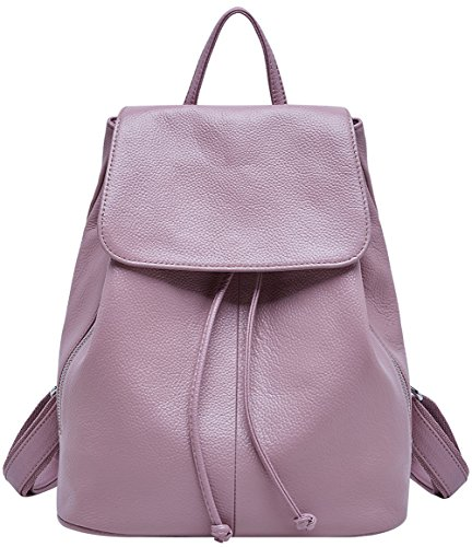 Genuine Leather Backpack for Women Elegant Ladies Travel School Shoulder Bag (Pink)