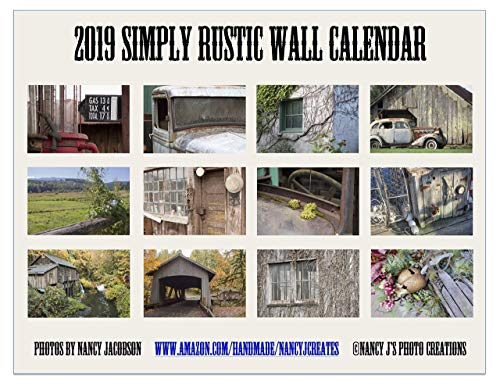 2019 Simply Rustic Wall Calendar Fine Art Rural Photography Christmas Gift Twelve Monthly 11x8.5