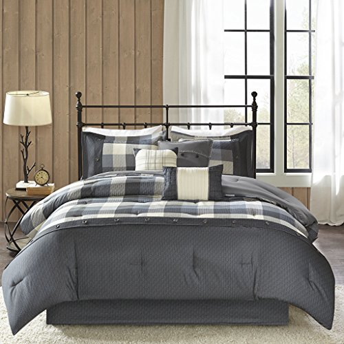 California King Plaid Bedskirt - Madison Park Ridge Cal King Size Bed Comforter Set Bed in A Bag - Grey, Plaid - 7 Pieces Bedding Sets - Ultra Soft Microfiber Bedroom Comforters