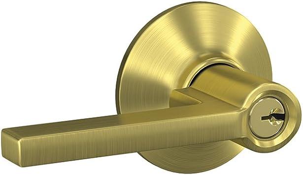 Schlage Custom Latitude Satin Nickel Keyed Entry Door Lever F51A LAT 619