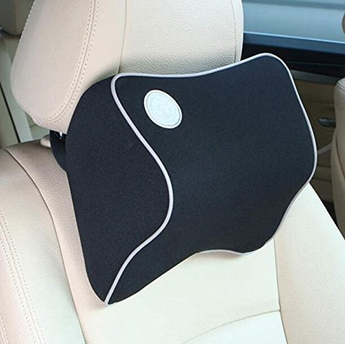 Lanlan High Density Space Cotton Memory Car seat Support Cushion Pillow Car Headrest - Black