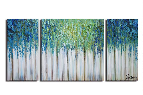 Set Hand Bed Painted (ARTLAND Hand-Painted 30x60-inch 'Blue Memory'3-Piece Gallery-Wrapped Abstract Oil Painting on Canvas Wall Art Set)