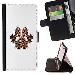 Momo Phone Case / Flip Funda de Cuero Case Cover - Garra de oso de Brown White Heart Patrón - HTC One M9