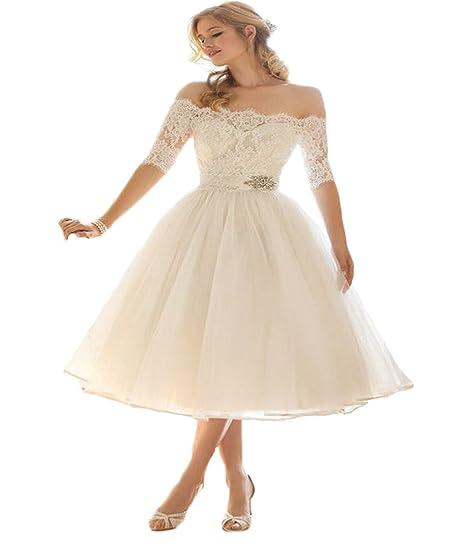 Hot Dresses Half Sleeve Short Tea Length Wedding Dress Off Shoulder Bridal Gowns 2