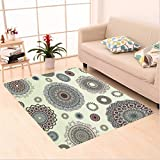 Nalahome Custom carpet e Round Motifs Forms Oriental Nostalgic Islamic Art Style Old World In Retro Art Deco Home Multi area rugs for Living Dining Room Bedroom Hallway Office Carpet (32.4''x118'')