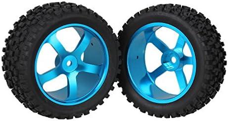Mxfansブルーアルミニウム合金5スポークホイールリム+ブラックHタイプゴムタイヤタイヤfor RC 1: 10オフロード車バギーアップグレードパーツのセット4