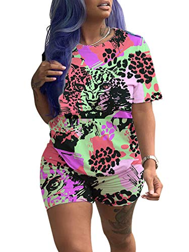 Women Cute Animal Printed Short Sleeve Tee Matching Bodycon Shorts Sport Jogger Set Outfits Multicolor #3 M
