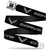 Automotive : C7 Full Color Black Corvette C7 Logo Black Silver Red Webbing Seatbelt Belt Seatbelt Belt Kids