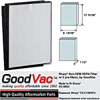 Sharp Non-OEM HEPA FZ-C150HFU KC-860U Air Purifier Filter with 2 Pre-Filters by GoodVac
