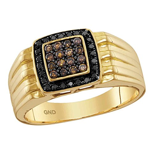 Gold Mens Cluster Ring (Black Brown Diamond Mens Fashion Ring Solid 10k Yellow Gold Square Frame Band Round Cluster Set 3/8 ctw)
