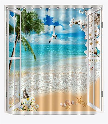 LB Sand Beach Palm Tree Seashell Seaside Scene Through Window Shower Curtain Set Landscape Bathroom
