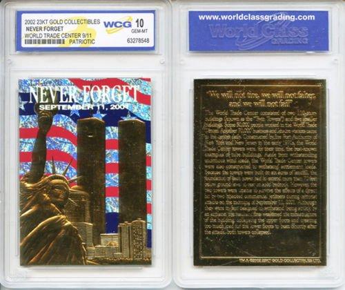 WORLD TRADE CENTER 9/11 Anniversary 2002 Gold Card Patriotic Graded GEM MINT 10 ()