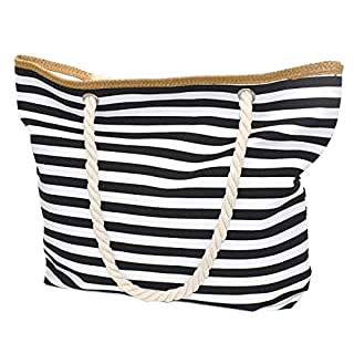 Utop Large Travel Straw Beach Tote Bag with Strong and Sturdy Cotton Rope Handles, Waterproof Lining with Zipper Pocket Inside. Durable, Lightweight, with Large Capacity