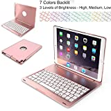 iPad Pro 10.5 Keyboard Case Addprime Backlit Smart Folio Cover Ultra Slim Aluminum Alloy Shell 135° Rotated Cover and Back Plate Chocolate ABS Button Wireless Keyboard for iPad A1701/A1709 Rose Gold
