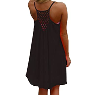 Juleya 9 Farben Damen Chiffon Strandkleid Solide Sommerkleid Frauen /Ärmellos Strand Kleid Boho Halter Beil/äufig Lose Tunika Blusenkleider Kurz Partykleid XS-XXXXL