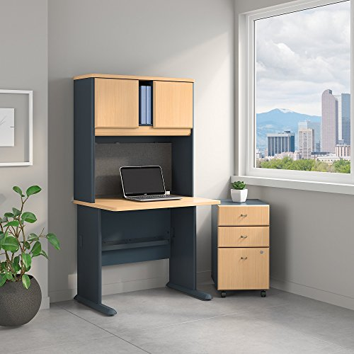 Bush Business Furniture Series A 36W Desk with Hutch and Mobile File Cabinet in Beech and ()