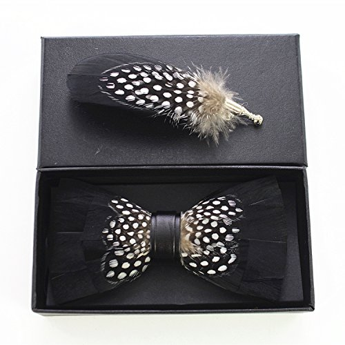 e Feather Pre-tied Bow tie and Brooch Sets (black/white) ()