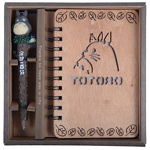 (My Neighbor Totoro Wooden Cover Notebook with Cute Anime Pen Set Vintage, Journal, Diary, Sketchbook, Study Spiral, Hardcover Writing Notebook - Wonderful Creative Kids & Totoro's Fan Gift (Style 1))