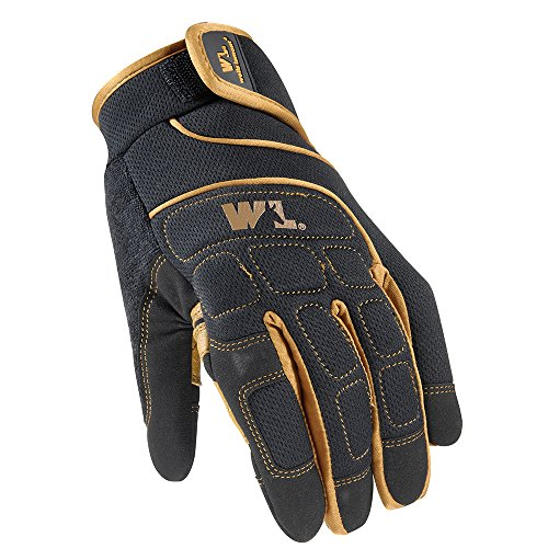(Wells Lamont Mechanic Gloves with Adjustable Wrist, Spandex Back, Synthetic Leather Palm, Large A7002L))