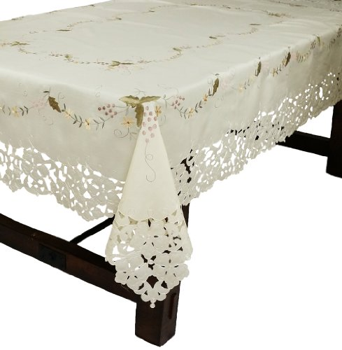 Xia Home Fashions Bordeaux Embroidered Cutwork Tablecloth, 72-Inch by 108-Inch by Xia Home Fashions