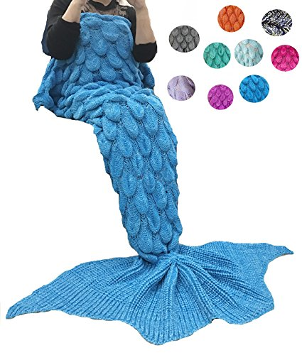 Coroler Stylish Queen Mermaid Tail Blanket Large Tail With Scale Patterns for Girls and Women,Crochet Knitting Sleeping Bag Best Birthday Christmas Gift,70.8