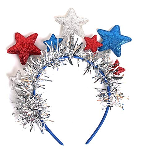JASMINO Patriotic American Flag Glittery Stars Streamers Headband 4th of July Independence Day Event Headband Stars Stripes Headwear Party Hair Accessories for Women Girls (Stars Streamers)