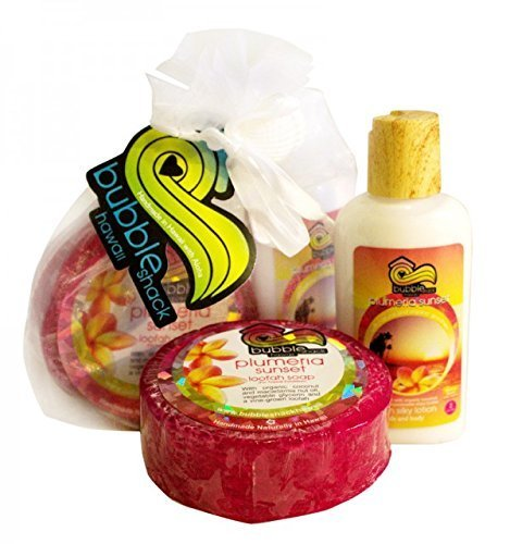 Hawaiian Bubble Shack Loofah Soap & Body Lotion Duo Gift Set Plumeria Sunset