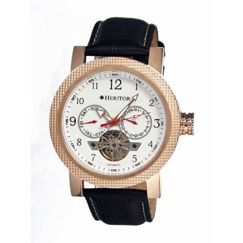 Heritor Men's HR1503 Millennial Black/White Leather Watch