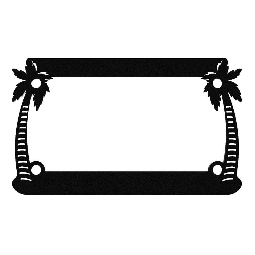 1 Piece LIC-127-Black Ferreus Industries Black Powdercoat Motorcycle License Plate Frame Palm Tree Paradise Palm Tree
